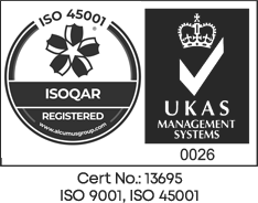 ISOQAR Registered - UKAS Management Systems - 0026 - Certificate Number 13695 ISO 9001, ISO 45001